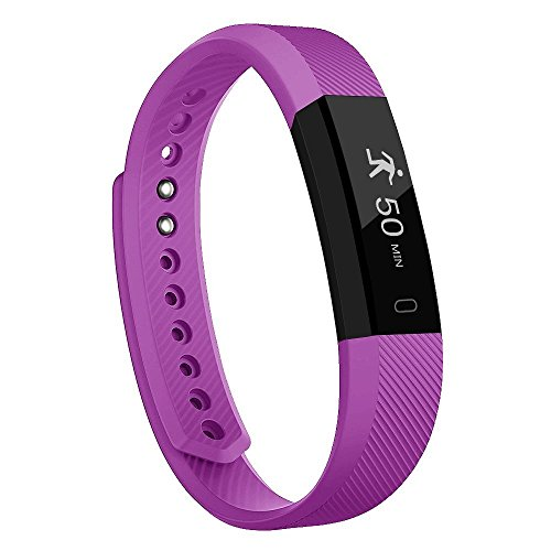 Fitness Tracker NewYouDirect Fit Smart Watch Activity Tracker Pedometer Sweatproof Sports Bracelet with Sleep Monitor Calorie/Step Counter Bluetooth 4.2 for Android IOS(Purple)