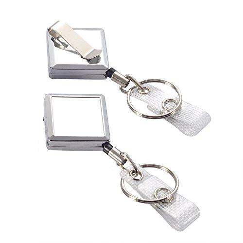 2 Pack JUMI Badge Reel Retractable Badge Holder Keychain ID Card Key Holder Belt Clip Heavy Duty Metal (Retractable Badge Holder Key Chain)