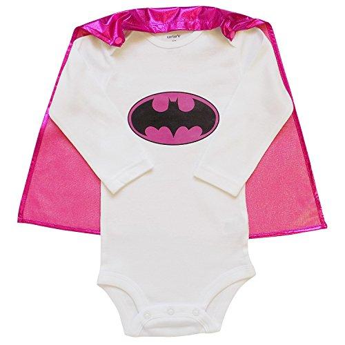 So Sydney Superhero Onesie Romper with Detachable Cape Baby, Toddler, Boy, Girl (M (6-12 Months), (Batgirl Toddler Costume)