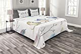 Lunarable Animal Bedspread Set King Size, Hand Drawn Birds Sitting on Branch Cartoon in Boho Style Watercolors Leaves Feathers, Decorative Quilted 3 Piece Coverlet Set with 2 Pillow Shams, Multicolor