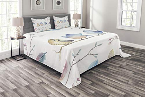 Lunarable Animal Bedspread Set King Size, Hand Drawn Birds Sitting on Branch Cartoon in Boho Style Watercolors Leaves Feathers, Decorative Quilted 3 Piece Coverlet Set with 2 Pillow Shams, Multicolor by Lunarable