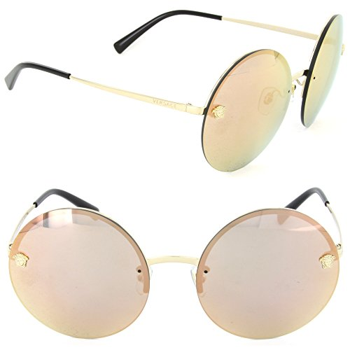Versace Women's VE2176 Pale Gold/Grey Mirror Rose Gold One ()