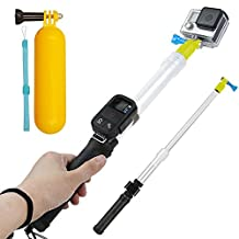 First2savvv Waterproof Transparent Telescopic Extension Pole Selfie Stick and Floating Hand Grip For GoPro Hero 6 5 4 Silver Black Hero 4 3+ 3 2 Session With Cradle for WiFi Remote - GO-GAN-B01QSB + diving stick