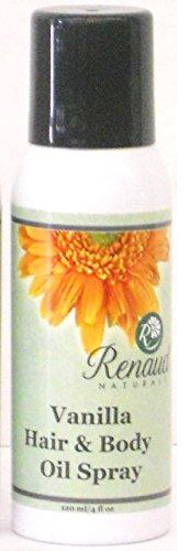 Renaud Naturals cheveux 100% naturels et bio et huile Body Spray (hydratant et la Grande-Oil Posing) 4 oz - parfum de vanille (également disponible en parfum floral)