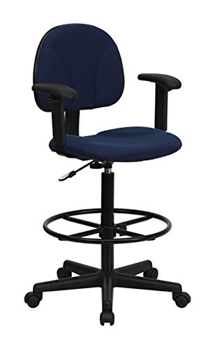 (Flash Furniture Navy Blue Patterned Fabric Ergonomic Drafting Stool with Arms)
