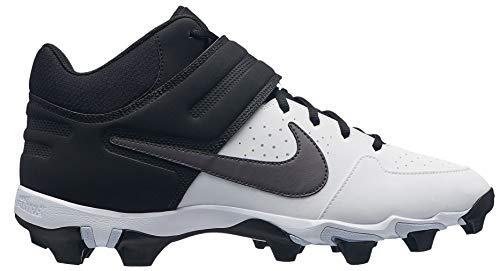 Nike Men's Alpha Huarache Varsity Keystone Mid Baseball Cleats (9, White/Grey)