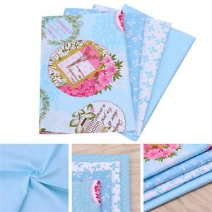 4X Blue Cotton Fabric Material DIY Cloth Sewing Craft Patchwork Quilting 50x40cm