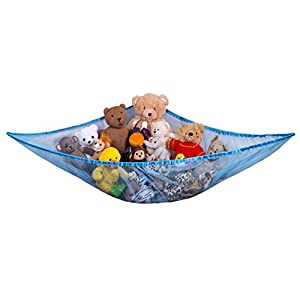 jumbo toy hammock - organize stuffed animals or children's toys with this mesh hammock. looks great with any décor while neatly organizing kid's toys and stuffed animals. expands to 5.5 feet. - 41Dk Wg 2BB L - Jumbo Toy Hammock – Organize stuffed animals or children's toys with the mesh hammock. Looks great with any décor while neatly organizing kid's toys and stuffed animals. Expands to 5.5 feet – Blue