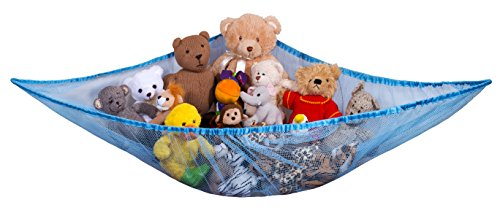 Jumbo Toy Hammock - Organize stuffed animals or children's toys with the mesh hammock. Looks great with any décor while neatly organizing kid's toys and stuffed animals. Expands to 5.5 feet - Blue (Blue Net Pet)