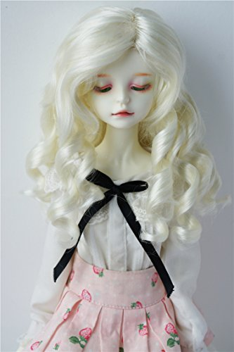 JD259 7-8inch 18-20CM Ivory white Lady Roll BJD doll wigs 1/4 MSD synthetic mohair doll accessories