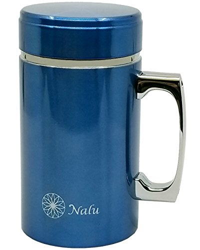 NALU Kup Travel Mug | Stainless Steel Vacuum Insulated to-Go Mug for Coffee, Tea, Cold Or Hot Drinks | Double Walled with Handle & Sealing Lid | 12 Ounce