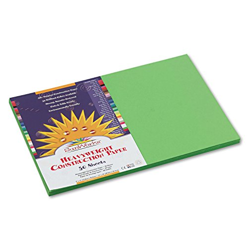 SunWorks 9607 Construction Paper, 58 lbs, 12 x 18, Bright Green, 50 Sheets/Pack - Paper 12x18 Green 50 Sheet