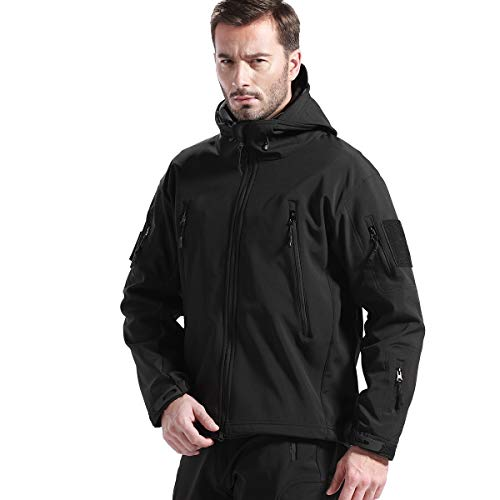 FREE SOLDIER Men's Jackets Outdoor Softshell Hooded Jacket (Black XL)