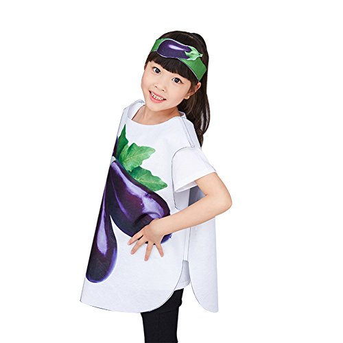 DREAMOWL DIY Very Easy Sew Kids Vegetable Fruits Costume Uncut Sewing Pattern for Parent-Child (Eggplant, (Funny Diy Kids Costumes)