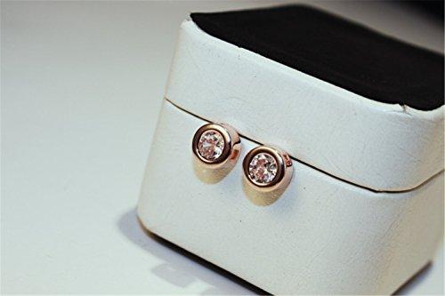 P.phoebus 18K Rose Gold Vintage White Clear Swarovski Crystal Studs Earrings Rhinestones Dangle Charms Hoops For Women Girls (Clear Earrings Crystal Diamond)