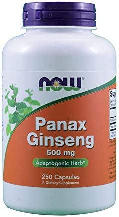 NOW Foods Panax Ginseng 500mg 250 capsules Pack of 2