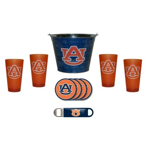 NCAA Auburn - Tonal Wrap Beer Pail, Color Frost Pint Glasses (4), Coasters (4) & Bottle Opener Set | Auburn Tigers Beer Bucket Gift Set