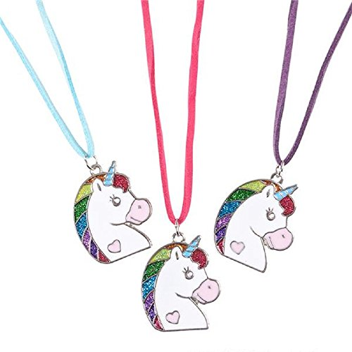 Unicorn Necklace Glitter Pendant - Party Favors, Prizes, Party Supplies, Easter Baskets (Pack of 12) by Shop Zoombie