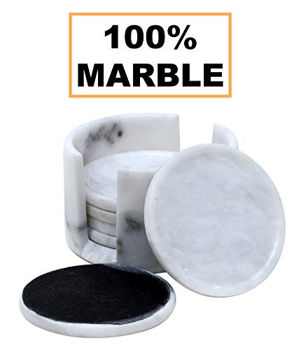 (Coaster Set for Drink Cup Pad, Handmade Marble Mug Round Coasters Set – Warming Stone Women Spoon Rest, Extreme Caddy Absorbent with Holder)