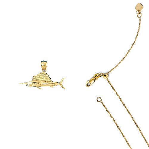fish Pendant on an Adjustable 14K Yellow Gold Cable Chain Necklace, 22