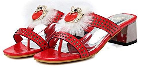 Plage Mode Femme Enfiler à Aisun Mules Décor Ouvert Rouge Bout qS0AwB
