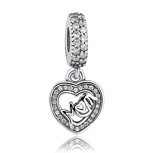 Everbling Mother's Day I Love Mom Mother Family 925 Sterling Silver Bead Fits Pandora Charm Bracelet (Mom Center Of My Heart Dangle)