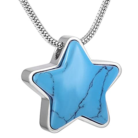 SS9165 Turquoise Star Fashion Memorial Jewelry Cremation Urn Pendant Necklace for Ashes Cremains Ash Urn - Sport Turquoise Pendant