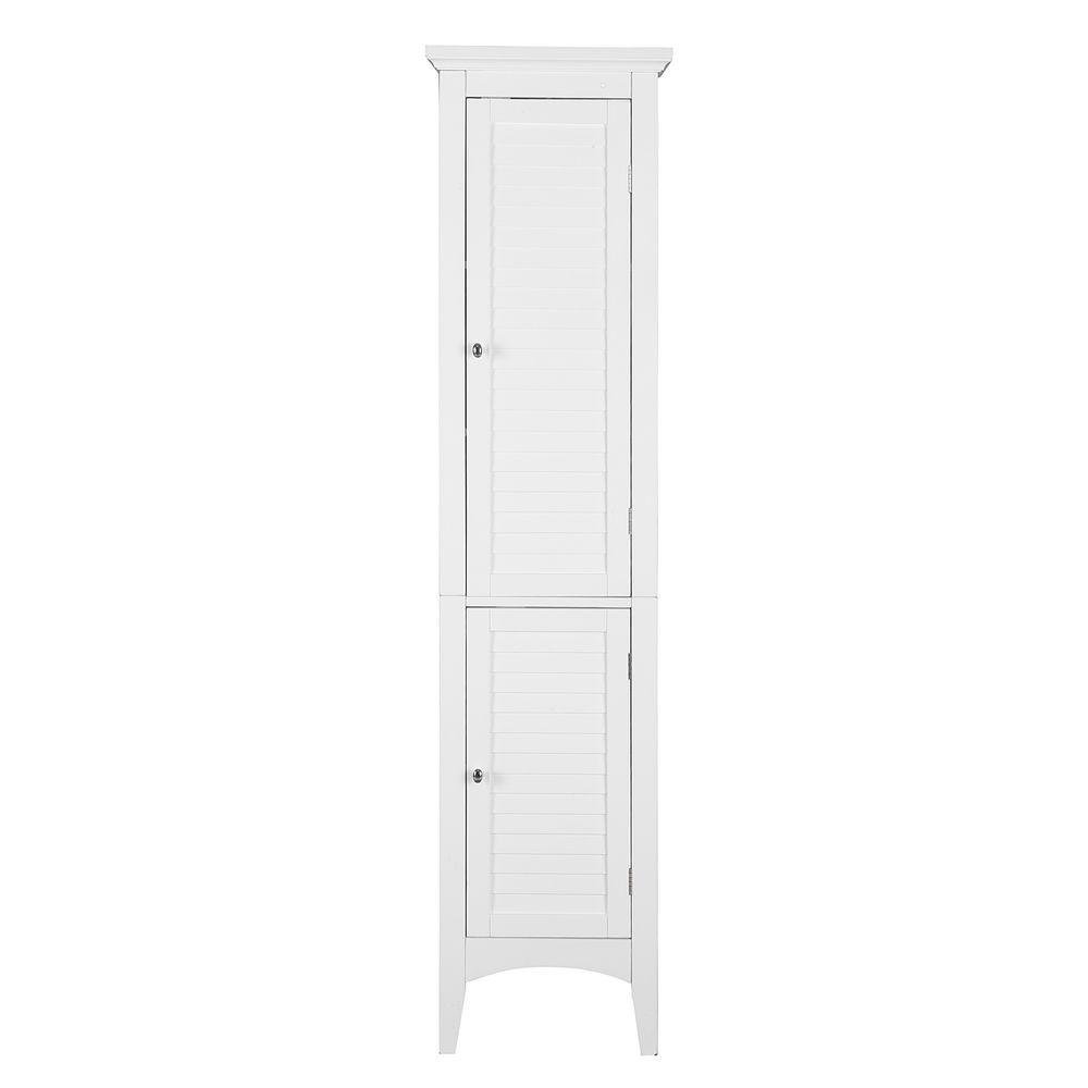 Elegant Home Fashions | Simon 15 in. W x 63 in. H x 13-1/4 in. D Bathroom Linen Storage Floor Cabinet with 2-Shutter Doors in White