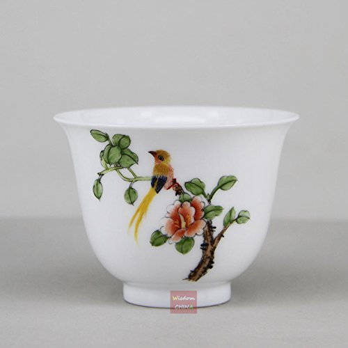 Hand Painted Bird Flower E Chinese Jingdezhen Famille-rose porcelain tea cup ()