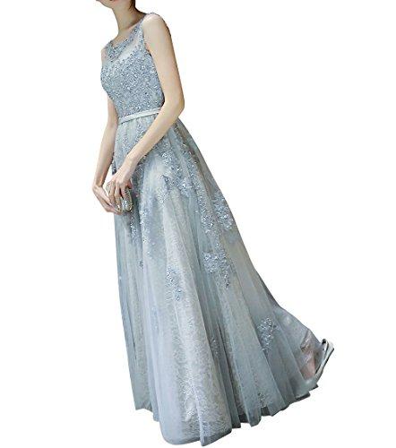 Damen Abiballkleider Marie Silber Braut Promkleider Kleider Linie Bodenlang Hundkragen A La Spitze Silber Abendkleider CHqx4