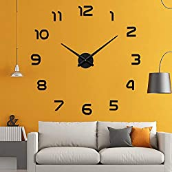 Aililife 3D DIY Wall Clock Decor Sticker Mirror Frameless Large DIY Wall Clock Kit for Home Living Room Bedroom Office Decoration