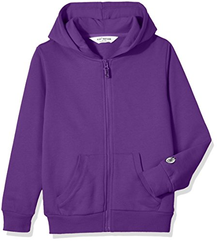 Kid Nation Kids' Soft Brushed Fleece Zip-Up Hooded Sweatshirt Hoodie for Boys or Girls S Purple