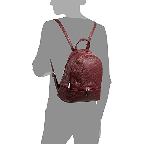 genuine Dollaro Cm Made Backpack Soft Colour Bag Firenze Backpack 26x30x14 Garnet Italy In Leather Touch Genuine Italian Artegiani Woman xwYxB4fO