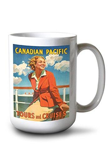Lantern Press Canadian Pacific - Tours and Cruises Vintage Poster c. 1936 (15oz White Ceramic Mug)