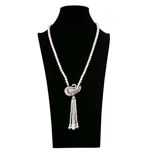 [Wild Wind (TM) Valentine's Pearl Strands Crystal Swan Pendant Tassel Necklaces (Colorful)] (White Swan Costume Australia)
