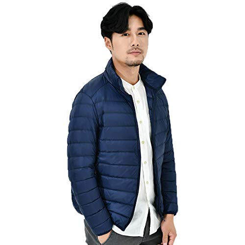 Outwear Coats Navy Mens Color Popular Winter Down Warm Jacket Down Thin Autumn Stand Tops Zipper Jacket Solid Winter Windproof Tianya Collar n6qaAgA