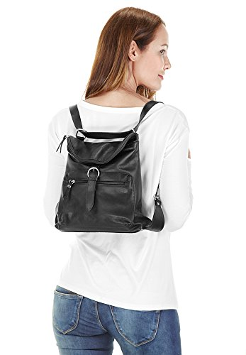 piké - Bolso mochila  de cuero para mujer negro negro talla única negro