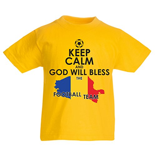 fan products of lepni.me N4515K Kids T-Shirt Keep Calm and God Will Bless The Romanian Football Team (3-4 Years Yellow Multicolor)