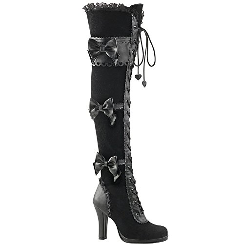 Women's Demonia Glam-300 Platform Goth Lolita Lace-Up Over-the-Knee Boot Black 8