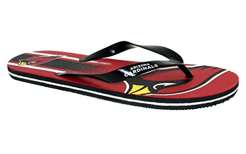 ACOBLG3-3 - Arizona Cardinals- Large - Officially Licensed NFL Big Logo Flip Flops - Happy Feet and Comfy Feet