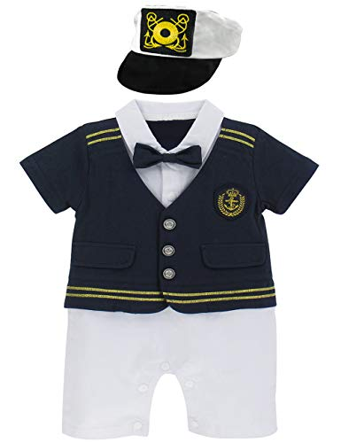 A&J DESIGN Infant Baby Boys' Halloween Sailor Captain Romper Outfit Set (12-18 Months, -