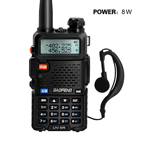 BaoFeng UV-5R Dual Band Two Way Radio Walkie Talkie-8W 128CH VHF(136-174MHz) UHF(400-470MHz) Amateur Ham Portable Radio with Rechargeable Li-Ion Battery.