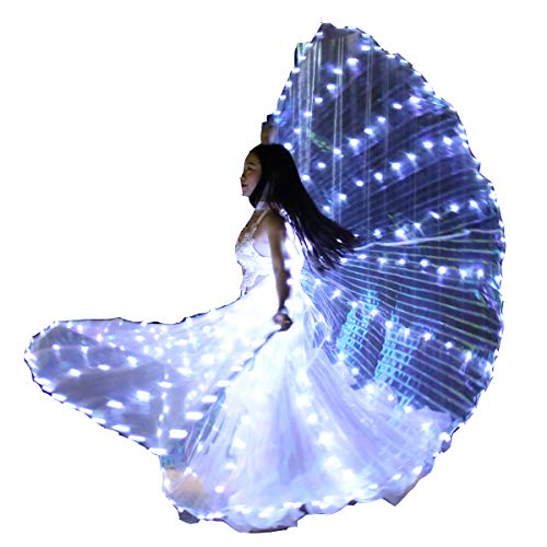 Carnival Halloween Shows 360-Degrees Luminous Led Belly Dance Isis Wings Belly Dance Costume Prop with Sticks(White)