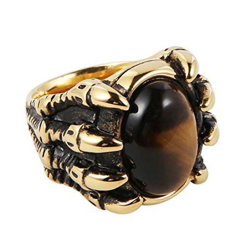 HZMAN Men's Vintage Large Tiger Eye Stone Stainless Steel Dragon Claw Cross Ring Band Gothic Biker Knight Gold Silver (Gold, 13)