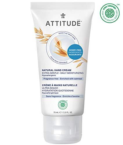 ATTITUDE Sensitive Skin, Hypoallergenic Hand Cream, Fragrance Free, 2.5 Fluid Ounce (Best Hand Cream For Sensitive Skin)