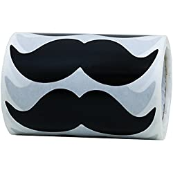 Hybsk 8cm x 4cm Black Mustache Stickers - Moustache Party Favors Total 200 Per Roll