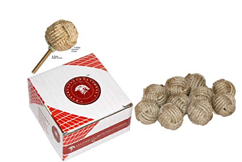 (Maximus International's Jute Rope Door Knobs/Rope Knot Drawer Pulls and Knobs/Pull and Push Handle Knobs for Cabinets, Wardrobes & Cupboards/Nautical Hardware Decor, 35 mm)
