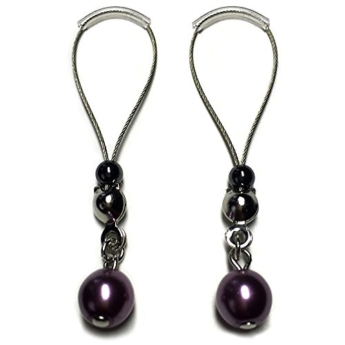 BoDivas Nipple Noose Czech Glass Pearl Non Piercing Body Jewelry Rings (Purple)