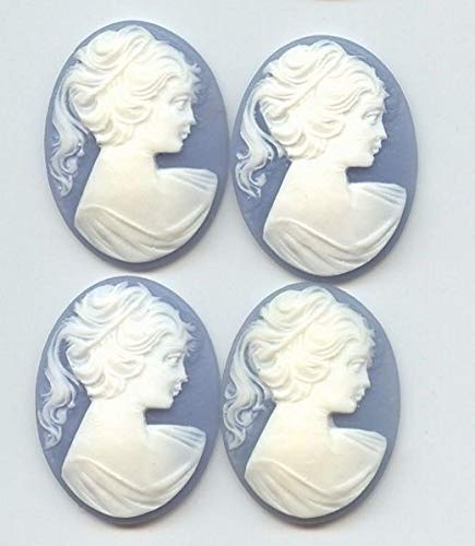 (3 Vintage Wedgewood Blue Acrylic Lady Head Pony Tail 40x30mm. Oval Cameos HDRY- 985)
