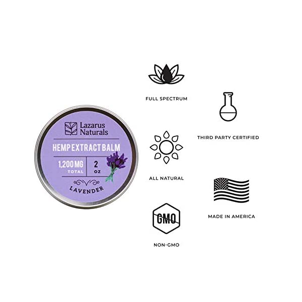 Lazarus Naturals Lavender Hemp Body Balm (2 oz, 1200 mg), All-Natural Salve Infused with Full-Spectrum Hemp Extract, Organic Mango Butter and Lavender Oil for Relaxation and More, Made in the USA